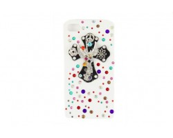 White Rocker Cross Assorted Crystal iPhone 4 Cell Case