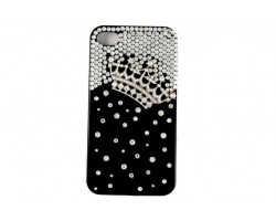 Crown & Crystal Black iPhone 4 Cell Phone Case