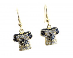 Black Gold Crystal Football Jersey Hook Earrings