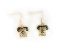 Gold Plate Crystal & Black Saints Football Jersey Hook Earrings