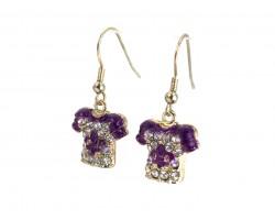 Purple Gold Crystal Football Jersey Hook Earrings