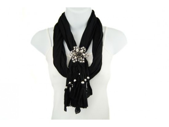 Black Flower Crystal Lace Cut Magnetic Pendant Scarf Necklace