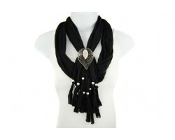 Black Lace Cut & Crystal Leaf Magnetic Pendant Scarf Necklace