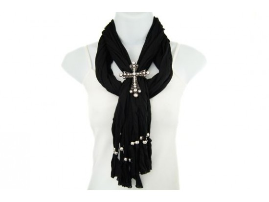 Black Antique Silver Crystal Cross Magnetic Pendant Scarf Necklace