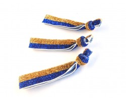 Blue & Gold Glitter Stretch Hair Tie Band 18pcs