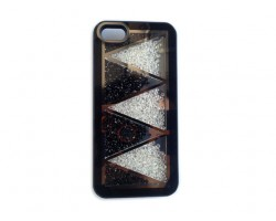 Black Jet & Clear Crystal Zig Zag iPhone 5 Cell Phone Case