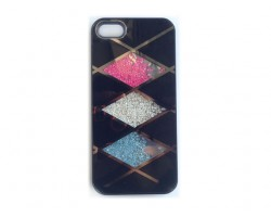 Black Rose Clear & Aqua Crystal Argyle iPhone 5 Cell Phone Case