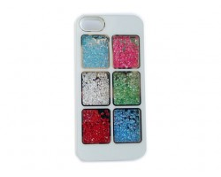 White Assorted Crystal Square Window iPhone 5 Cell Phone Case
