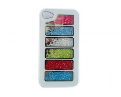 White Assorted Crystal Rectangle Window iPhone 4 Cell Phone Case