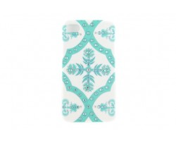 Tiffany Blue Baroque Floral Pattern Crystal iPhone 5 Case