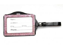 Light Pink Crystal Changeable Luggage ID Tag