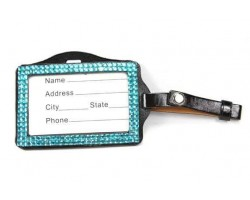 Blue Zircon Crystal Changeable Luggage ID Tag