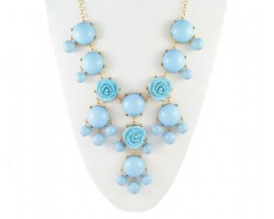 25mm Light Blue Flower Bubble Necklace with Gold Plate Chain