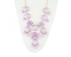 25mm Light Purple Flower Bubble Necklace with Gold Plate Chain