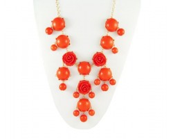 25mm Orange Flower Bubble Necklace with Gold Plate Chain