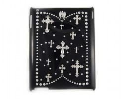Silver & Crystal Cross Black iPad Case Generation 3&4