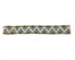Tri-Tone Multi Colored Seed Bead Chevron Stretch Headband