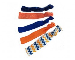Assorted Blue & Orange Plain & Chevron Stretch Hair Tie 30 Pieces
