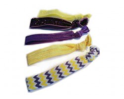 Assorted Purple & Gold Plain & Chevron Stretch Hair Tie 30 Pieces