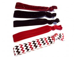 Assorted Red & Black Plain & Chevron Stretch Hair Tie 30 Pieces
