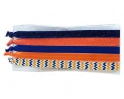 Blue & Orange Plain & Chevron Stretch Headband 30 Pieces