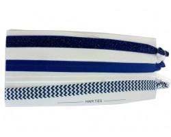 Blue & White Plain & Chevron Stretch Headband 30 Pieces