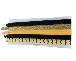 Black & Gold Plain & Chevron Stretch Headband 30 Pieces