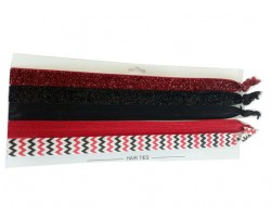 Red & Black Plain & Chevron Stretch Headband 30 Pieces