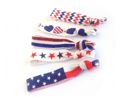USA Theme Stretch Hair Tie 30 Pieces