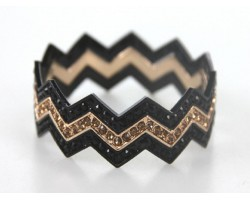 Black & Gold Crystal & Band Chevron 3 Band Bangle Bracelet