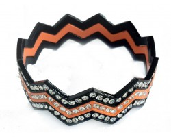 Orange & Black Crystal Chevron 3 Band Bangle Bracelet