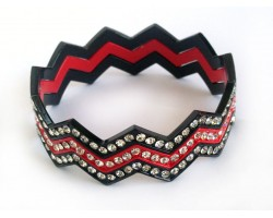 Black & Red Crystal Chevron 3 Band Bangle Bracelet