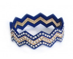 Blue & Gold Crystal Chevron 3 Band Bangle Bracelet