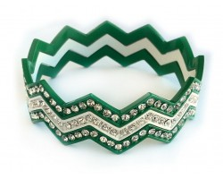 Green & White Crystal Chevron 3 Band Bangle Bracelet