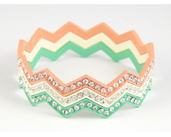 Light Multi Cry Chevron 3 Band Bangle Bracelet