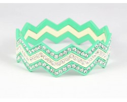 Mint & White Crystal Chevron 3 Band Bangle Bracelet