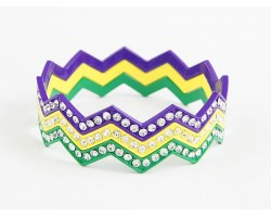 Mardi Gras Crystal Chevron 3 Band Bangle Bracelet