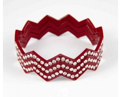 Maroon Crystal Chevron 3 Band Bangle Bracelet