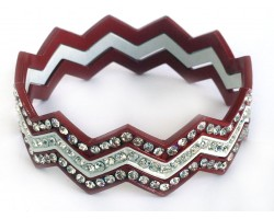 Maroon & White Crystal Chevron 3 Band Bangle Bracelet