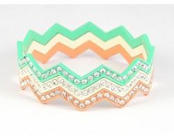 Mint White Coral Crystal Chevron 3 Band Bangle Bracelet