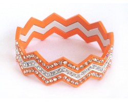 Orange & White Crystal Chevron 3 Band Bangle Bracelet