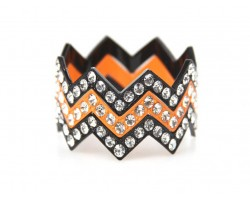 Orange & Black Large Crystal Chevron 3 Bangle Bracelet