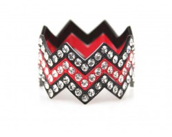 Black & Red Large Crystal Chevron 3 Bangle Bracelet