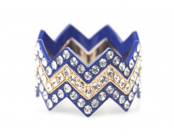 Blue & Gold Large Crystal Chevron 3 Bangle Bracelet
