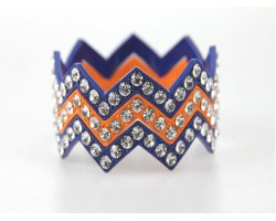 Blue & Orange Large Crystal Chevron 3 Bangle Bracelet