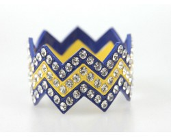 Blue & Yellow Large Crystal Chevron 3 Bangle Bracelet