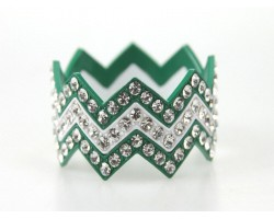 Green & White Large Crystal Chevron 3 Bangle Bracelet