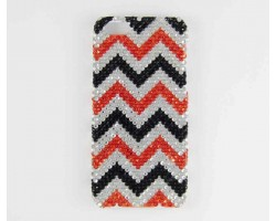 Black & Orange Crystal Chevron iPhone 5 Cell Case