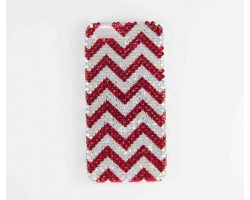 Red & Clear Crystal Chevron iPhone 5 Cell Case