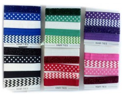 Assorted Polk-a-Dot & Chevron Stretch Band Hair Tie 30 Pack